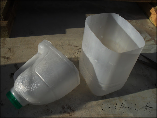 this is an image of the containers used in the greenhouse saver made from old plastic milk bottles