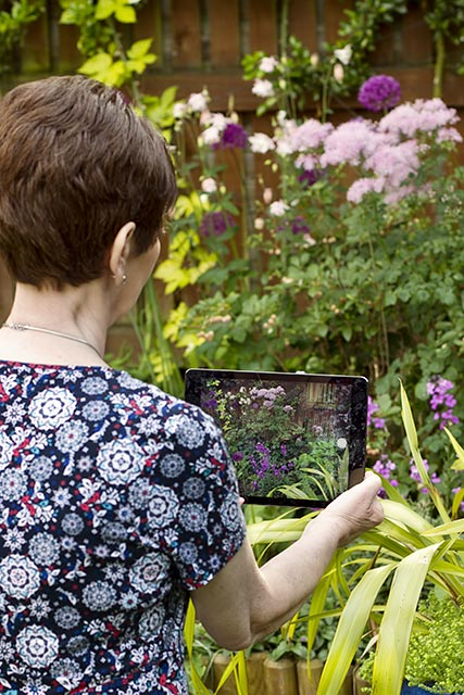 this is an image of the back view of a woman taking garden photos
